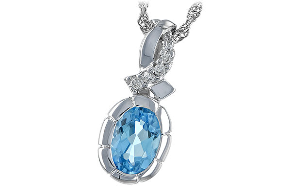 E198-47410: NECK .85 BLUE TOPAZ .90 TW