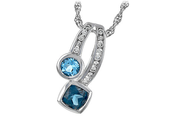 M198-53800: NECKLACE .91 TW BLUE TOPAZ 1.04 TGW